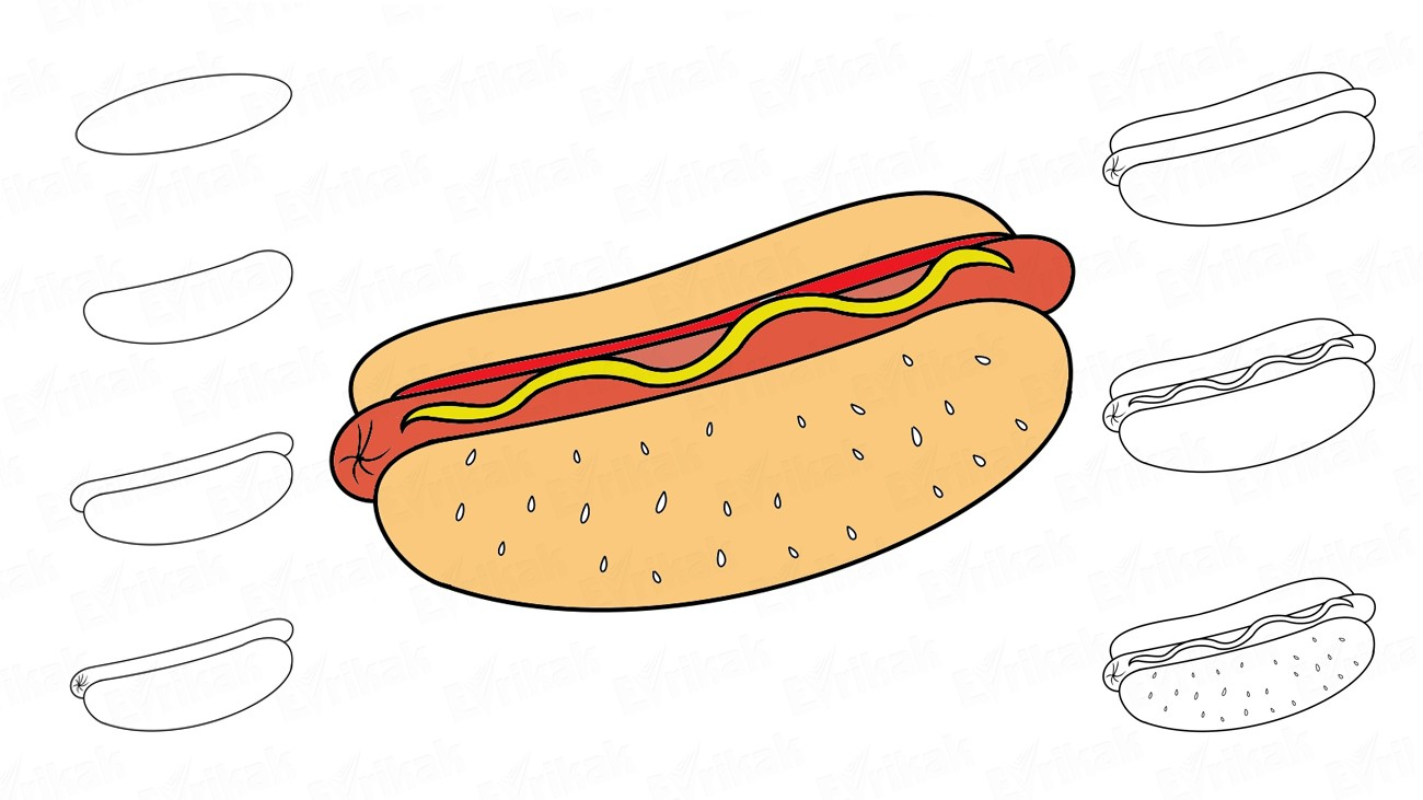 Come disegnare un hot dog americano (+colorazione)
