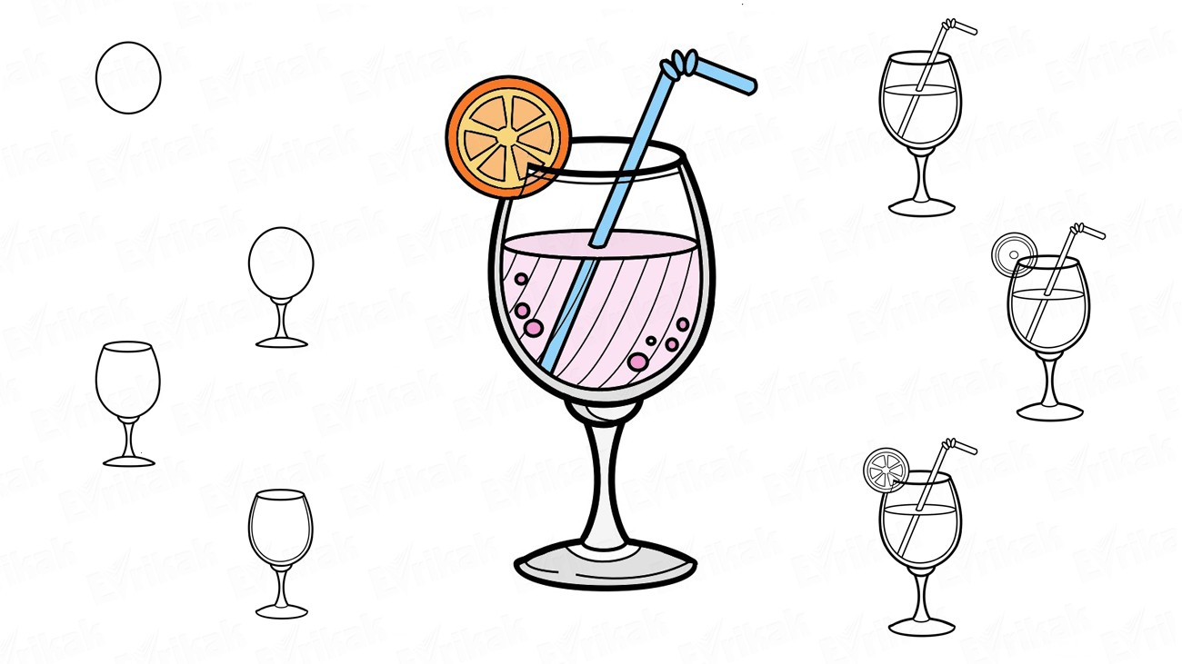 Come disegnare un cocktail al limone (+colorazione)